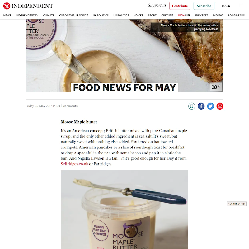 FOOD NEWS FOR MAY - THE INDEPENDENT